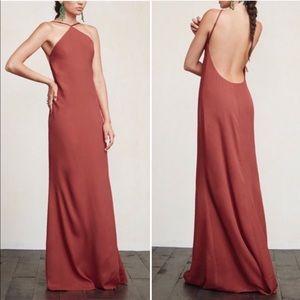 Reformation Fleur pink halter low back maxi dress